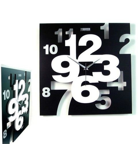 CMI Artistic Square Clock Black White Abstract Modern Room Office Decor 13354