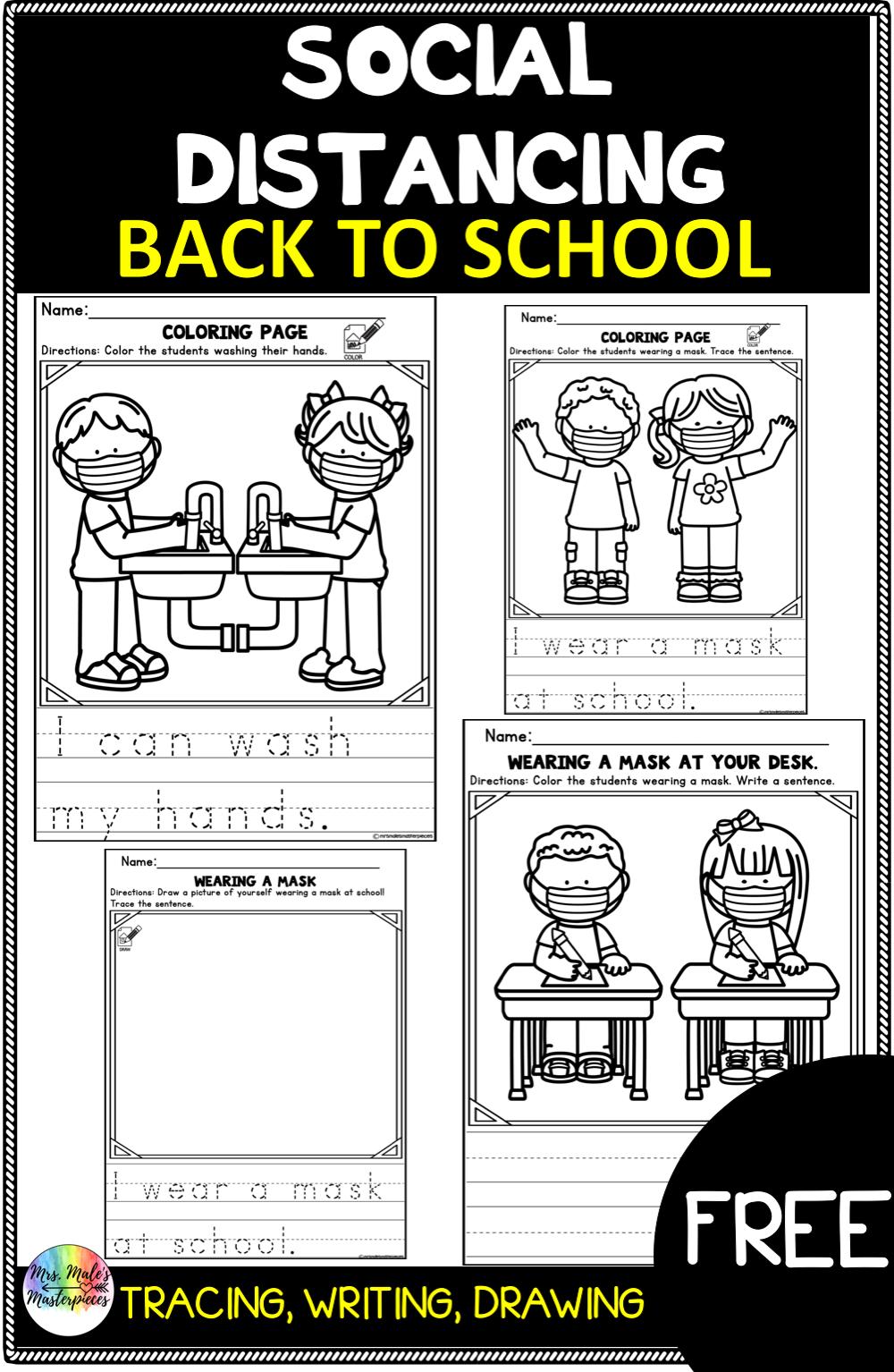 Back To School Mask Activities Back To School Kindergarten Writing School