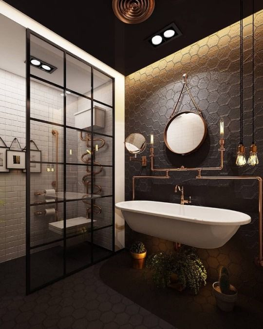 Id e de r novation de salle de bain avec un style industriel et une d co ma cuisines et - Idee renovation salle de bain ...