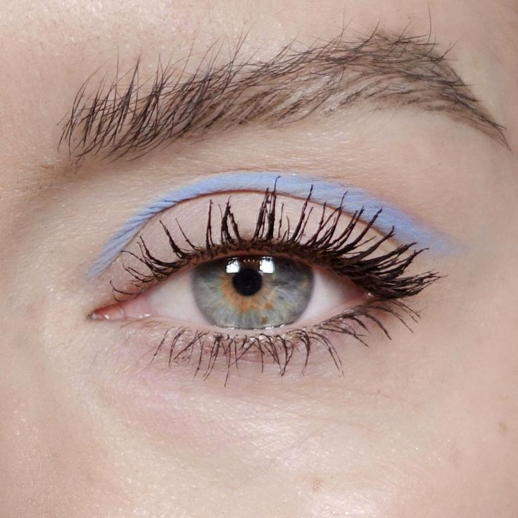 Natural brows and a pop of pastel blue