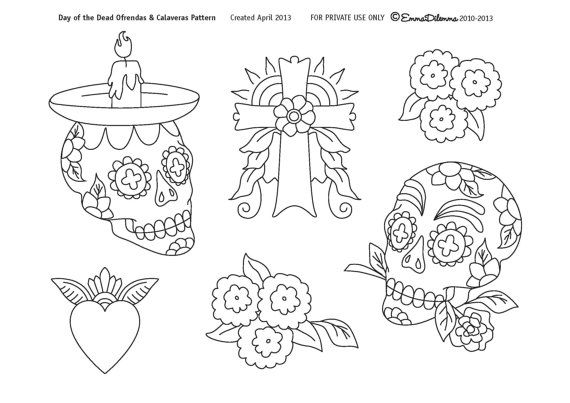 Day Of The Dead Calaveras Ofrendas Pattern Pdf File For Hand