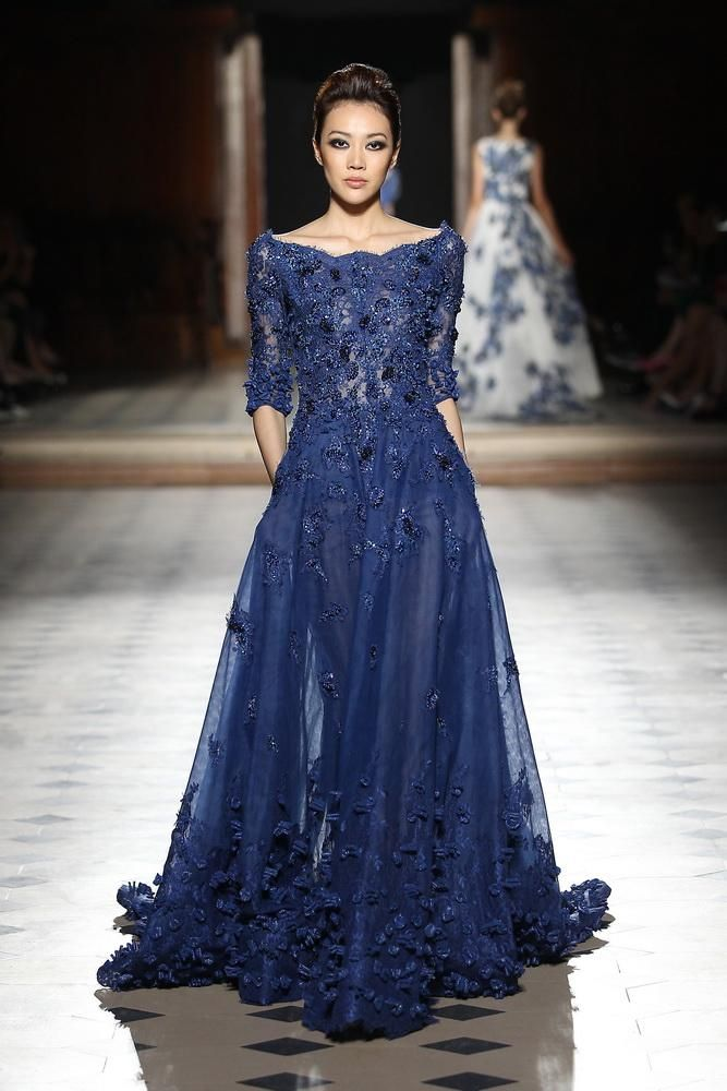 Tony Ward Dresses Evening Wear 2016 Half Sleeves A Line Bateau Blue Tulle Gowns With Lace Liques And Beaded Long Skirts For Womens Grey