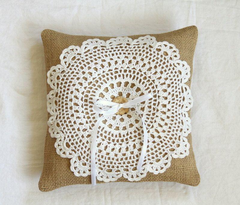 Burlap Girlie Doilie Wedding Ring Bearer Pillow with vintage ...