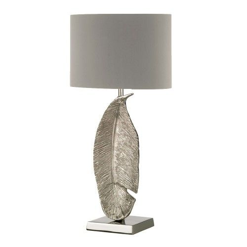 Heathfield Co Large Leaf Table Lamp Antique Silver Shade Right Hand Lamp Table Lamp Luxury Leaf Table