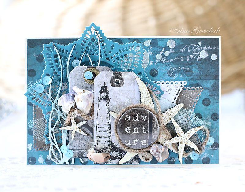 Рождеством христовым, открытки ручной работы с морской темой