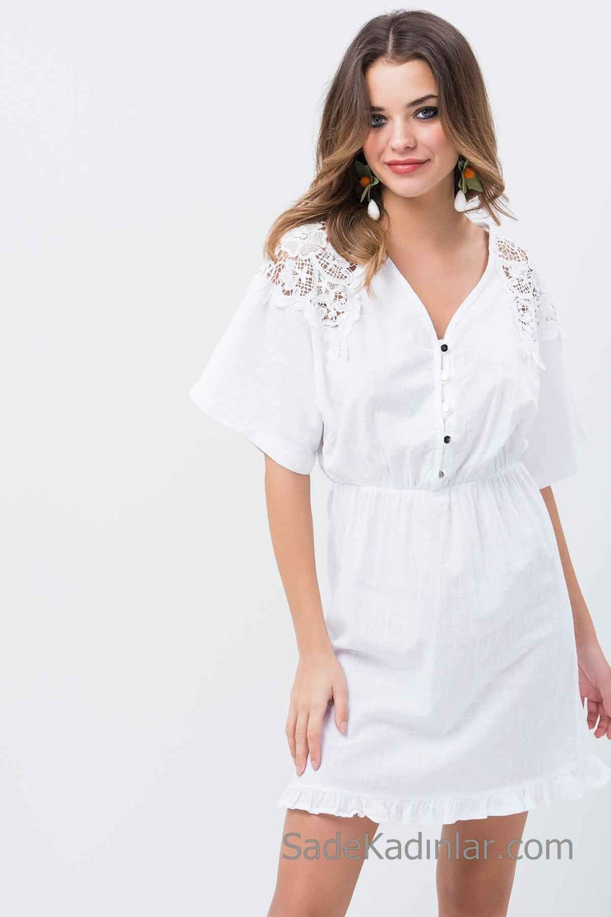 2019 Gunluk Keten Elbise Modelleri Beyaz Kisa V Yakali Kisa Kol Dantel Detayli 2020 Elbise Modelleri Elbise Tarz Elbiseler