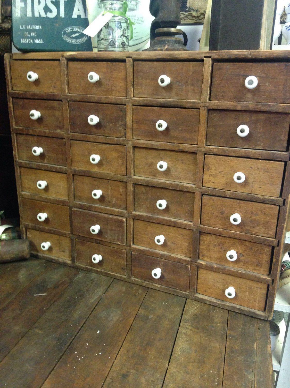 Antique wooden apothecary cabinet porcelain knobs Antiques storage ...