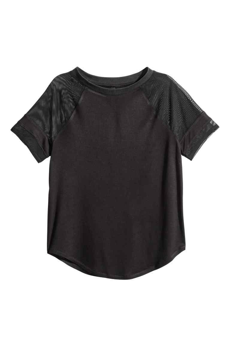 Top en jersey - Noir/mesh - FEMME | H&M FR