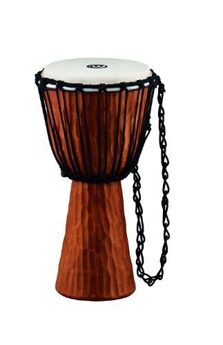 "Meinl Percussion HDJ4-M Headliner Rope Tuned Djembe Nile Series 10 Inch Medium by Meinl Percussion. $84.13. These Djembes are made from a solid piece of plantation grown Mahogany wood and are hand carved. This also makes the djembe easy to grip between the knees. The hand selected goat skin head is secured and tuned with the traditional Mali Weave system. Around 20"" tall and 10"" diameter. Due to the individual hand-carved construction, this djembe's dimensions ..."