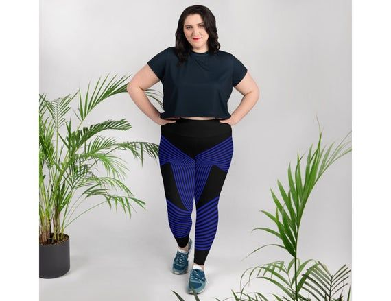 Photo of Black and blue striped Plus size tights Sizes 2XL-6XL , high waist women's Athletic fashion, workout,plus size legging outfits