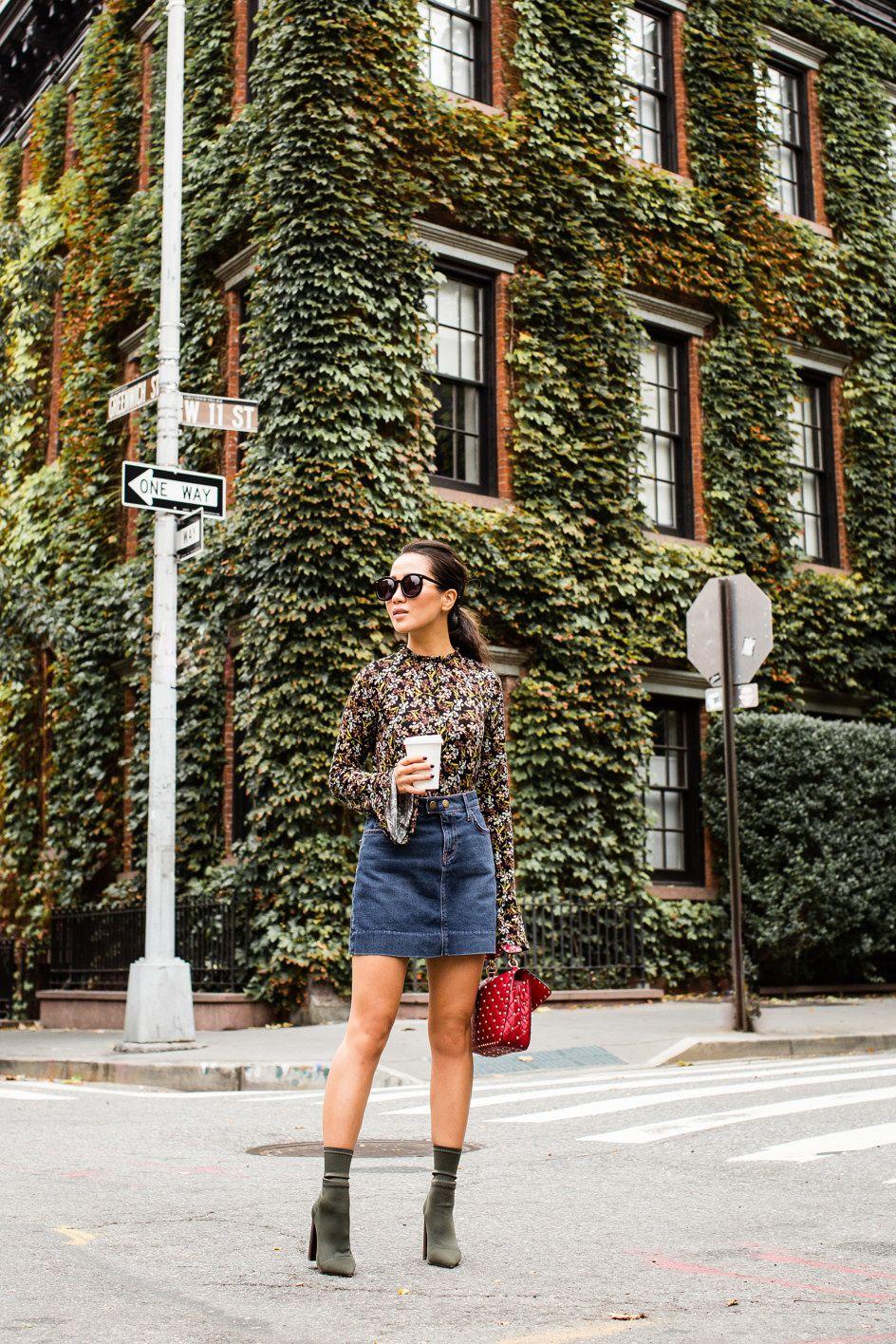 Wall Flower :: Floral top & Denim skirt | Floral tops, Denim
