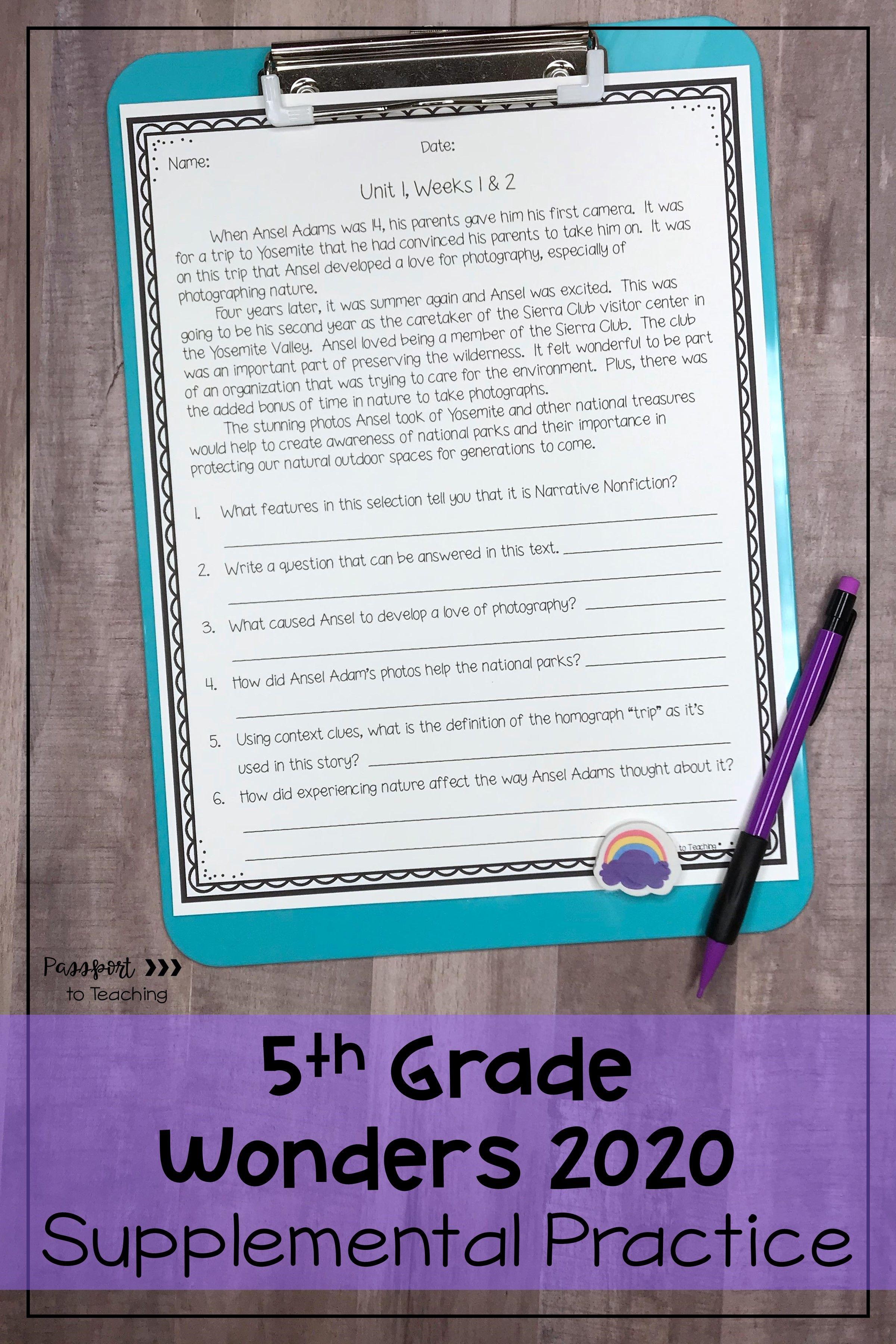5th Grade Wonders Weekly Reading Worksheets Bundle In
