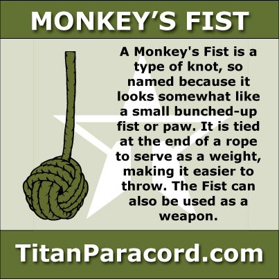 The Monkey's Fist, or monkey's paw, is a type of knot, so named because it looks somewhat like a small bunched fist/paw. It is tied at the end of a rope to serve as a weight, making it easier to throw, and also as an ornamental knot.