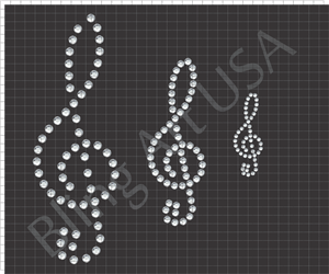 Treble Clef Music Notes Rhinestone Files Template Pattern Music