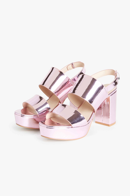 85d32cdaeef Monki Metallic platform heels in Pink Yellowish Light