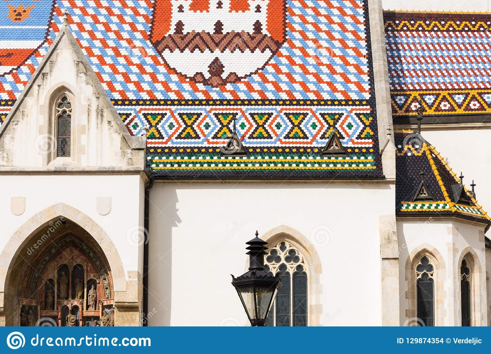 Photo About View Of The Famous St Mark S Church With Colorful Tiled Rooftops In Upper Old Town Zagreb Croatia Europe On A Clou Zagreb Croatia Famous Saints