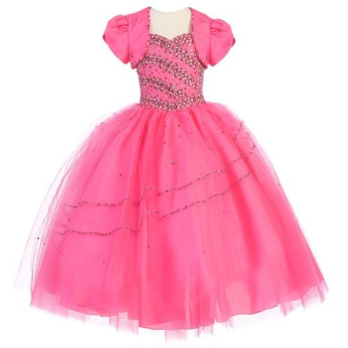 Calla Collection Big Girls Hot Pink Beaded Accent Pageant Dress 16, Girl's