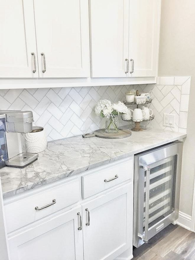 Butlers pantry Small butlers pantry with herringbone backsplash tile and white - #whitekitchen
