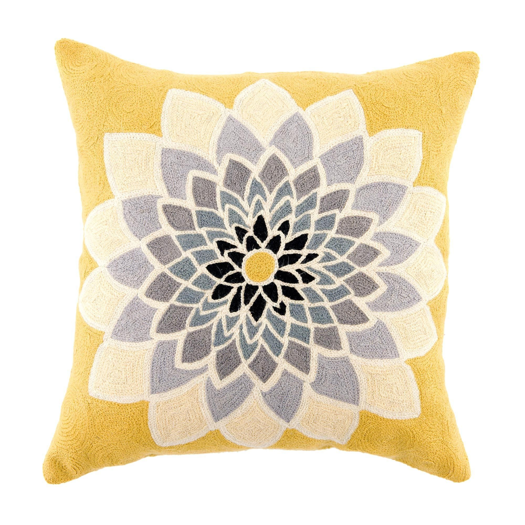 Dunelm Floral Grey and Yellow Flowering Cotton Cushion