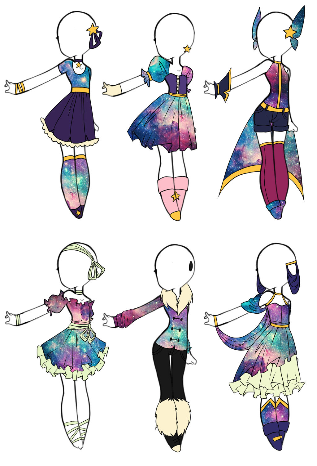 Ota Galaxy Outfits Closed By Aligelica On Deviantart Fashion Design Drawings Drawing Anime Clothes Drawing Clothes