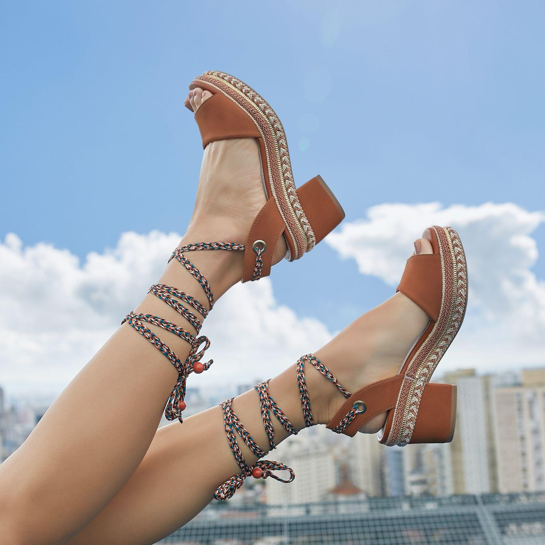 Sandalia Dakota Flatform Amarracoes Caramelo Com Imagens