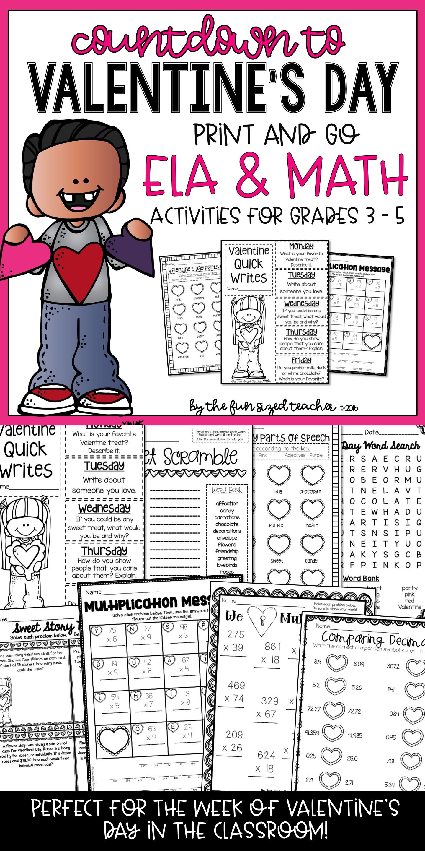 Countdown To Valentine S Day Ela Amp Math Printables