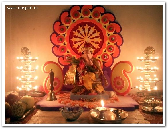 100 Home Ganpati Decorations Ideas Pictures Part 2 3 Ganpati Decoration Makhar Home Decorating