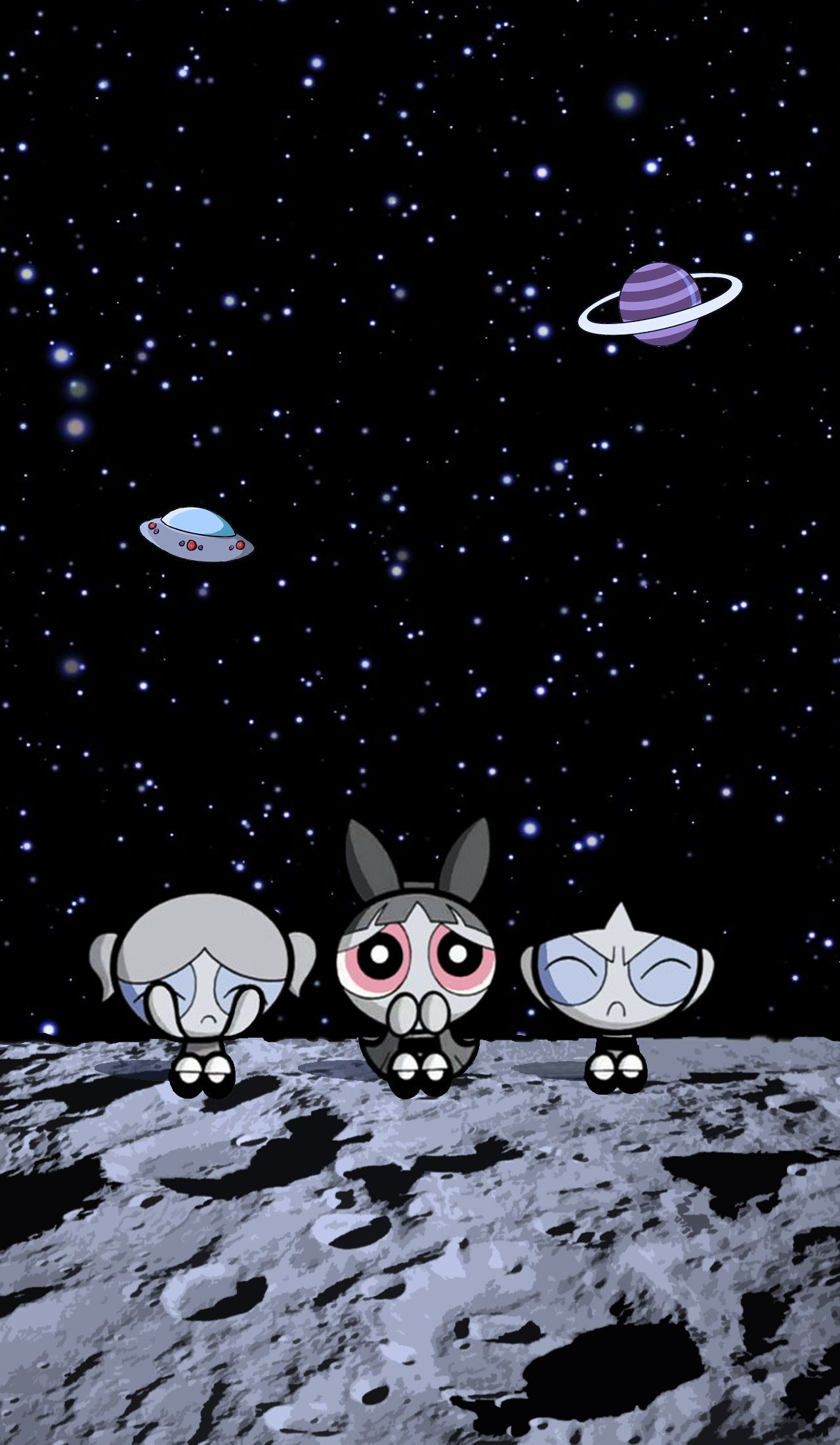 Cartoon Outer Space Astronomical Object Illustration Fiction Space In 2020 Powerpuff Girls Wallpaper Space Phone Wallpaper Cartoon Wallpaper