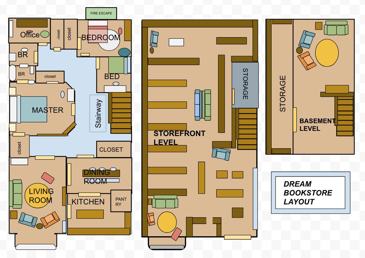 Dream Bookstore Layout, Full design OaO Kitchen room