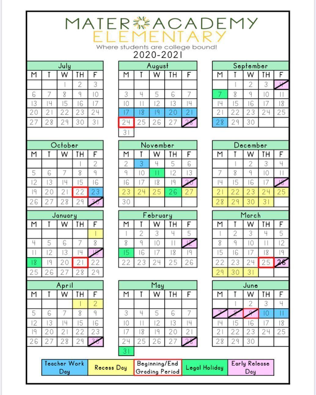 "Mater Academy's Instagram photo: ""Our 2020 2021 school calendar"