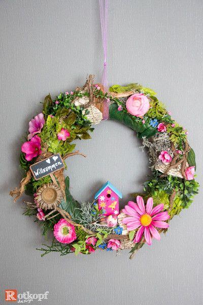 """Photo of Door wreaths – door wreath summer """"gazebo"""" pink – a designer piece by Rot …"""