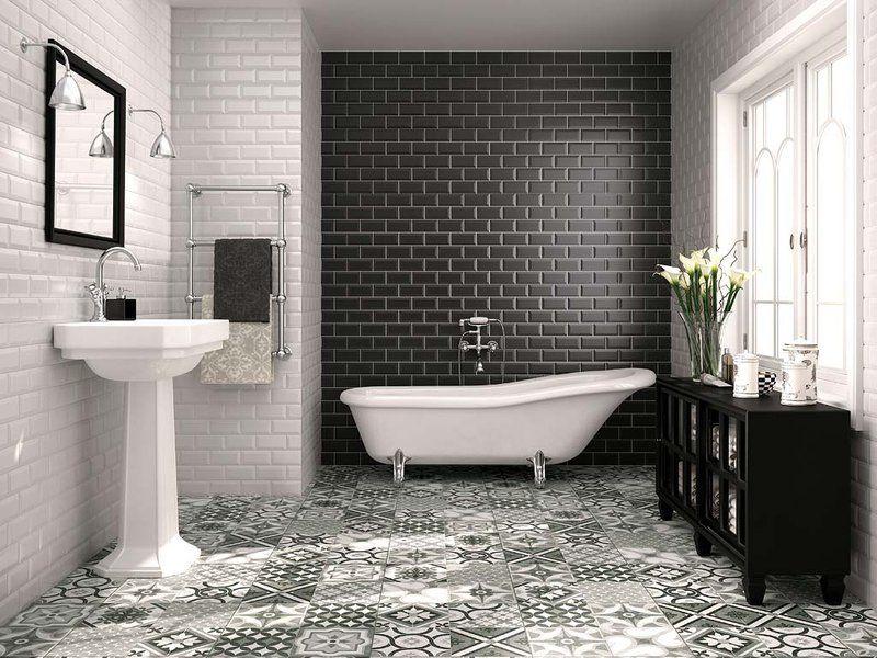 Resultado de imagen para baños blanco y negro Baños Pinterest