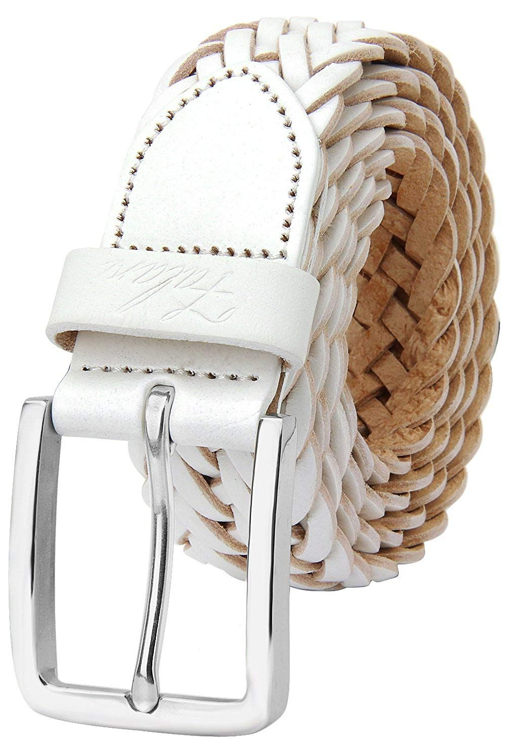 Falari Mens Braided Belt Leather Stainless Steel Buckle 35mm