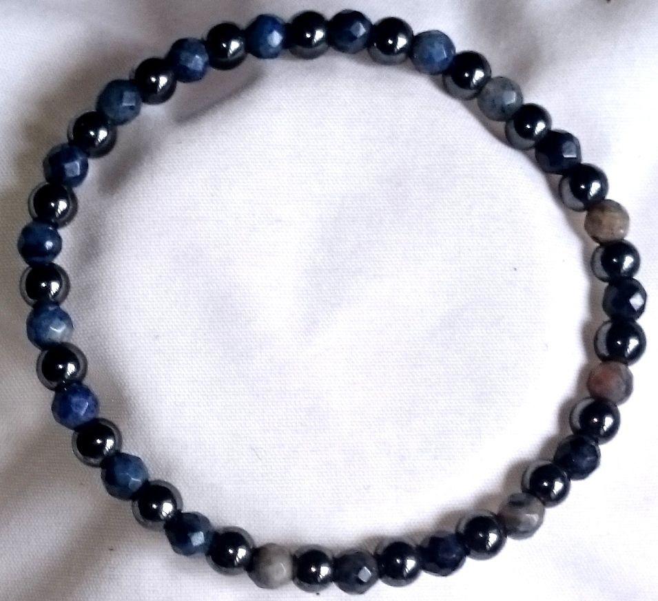Fazetierte Blau-Jaspis Hämatit Armband Bracelet