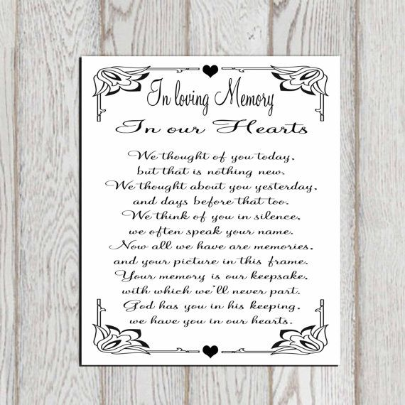 In Loving Memory Printable Memorial Table Wedding Sign Quotes Poem Our Hearts Instant
