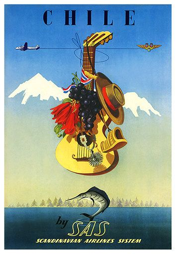 Chile Sas Scandinavian Airlines System Travel Poster Poster Paper Sticker Or Canvas Print Vintage Travel Posters Vintage Posters Vintage Airline Posters