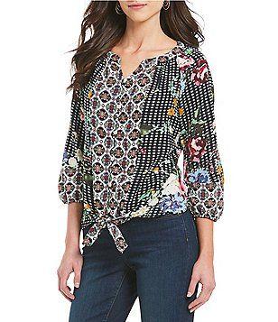 bfe7c7fd777400 Figueroa   Flower Petites Katrina 3 4 Sleeve Tie-Front Mixed Print Top  Petite