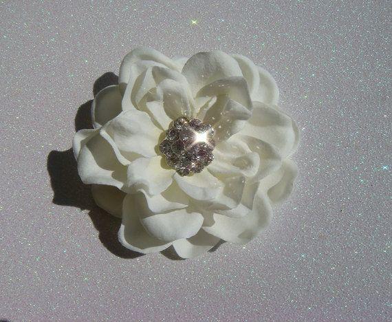 Light Ivory Bridal Flower Hair Clip - $27