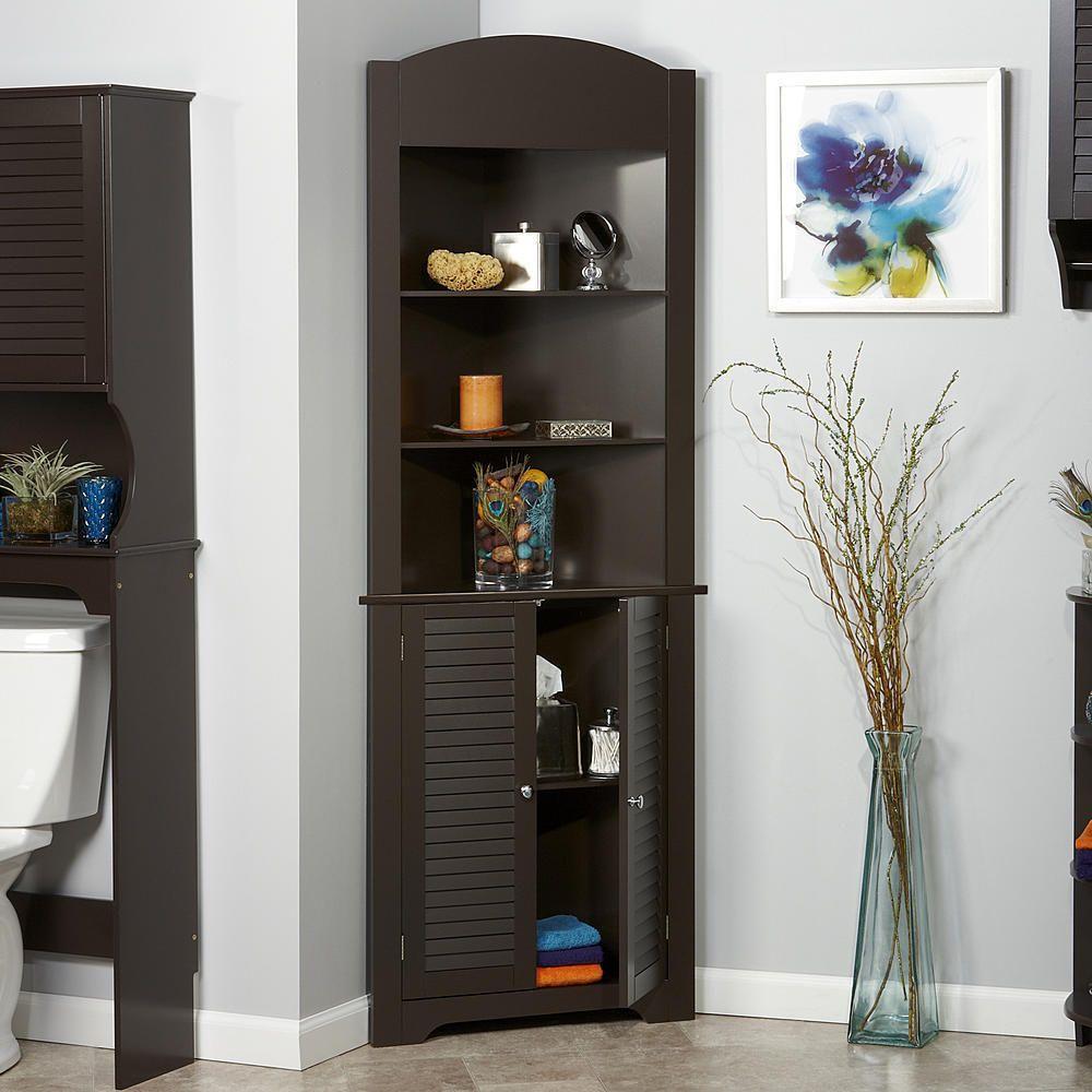 Wooden Corner Etagere Cabinet Storage Organizer Cupboard Bathroom Furniture Unit Unbranded