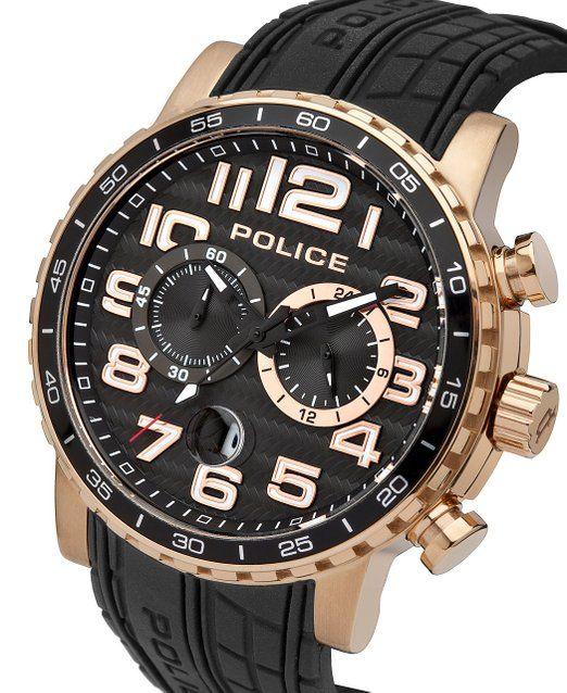 Reloj de cuarzo de los hombres de la Policía desliza con esfera de color negro con función cronógrafo y de color negro y correa de silicona 14443jsr/02 P: Amazon.es: Relojes