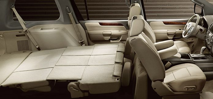 Nissan Armada Platinum With Reserve Package And Captain S Chairs Shown In Chocolate Almond Leather Pinterest