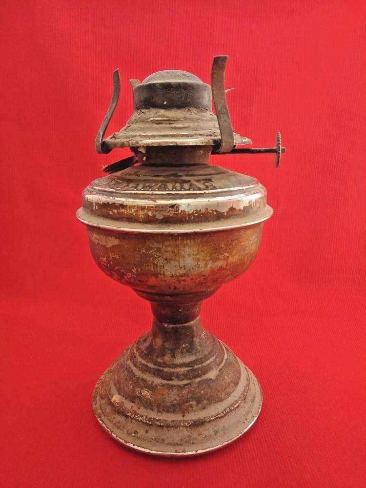 Large Old Antique Oil Wick Iron Kerosene Lamp Vintage India Tribal