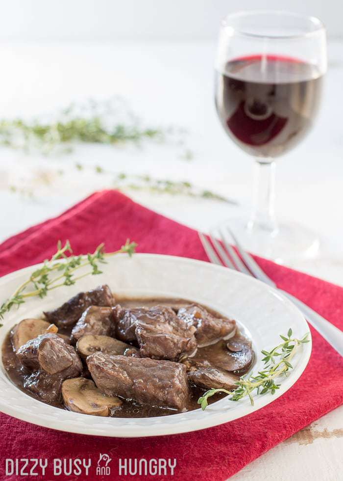 Crock Pot Beef and Mushrooms with Red Wine Sauce images