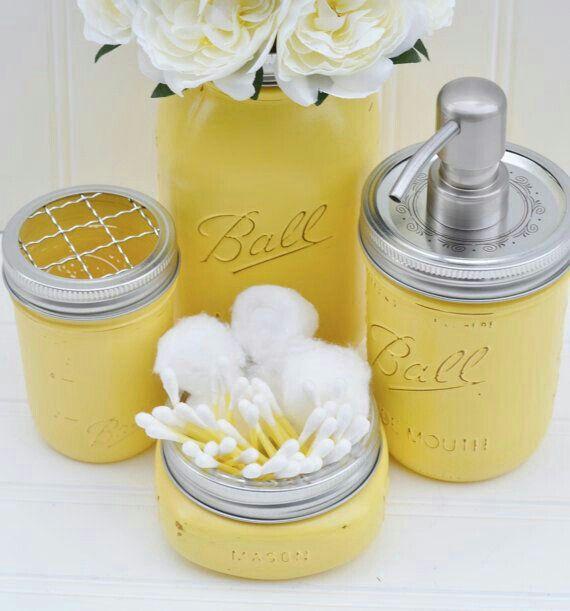Items Similar To Mason Jar Bathroom Set   Mason Jar Soap Dispenser    Bathroom Storage, Bathroom Accesories, Rustic Bathroom Decor: Yellow,  Shabby Chic On ...