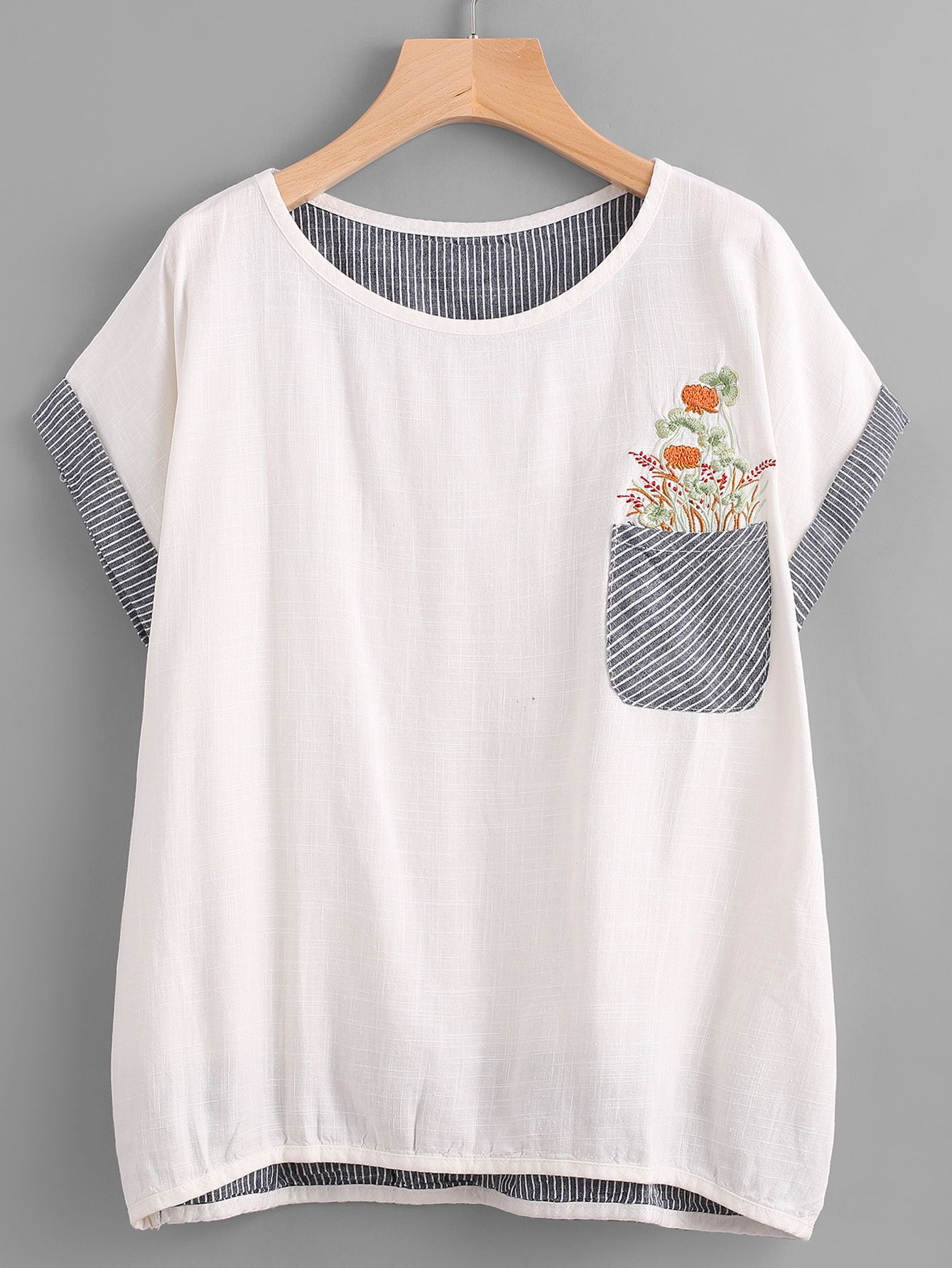 63034d8594 Shop Embroidered Contrast Striped Dip Hem Pocket Tee online. SheIn offers  Embroidered Contrast Striped Dip Hem Pocket Tee & more to fit your  fashionable ...