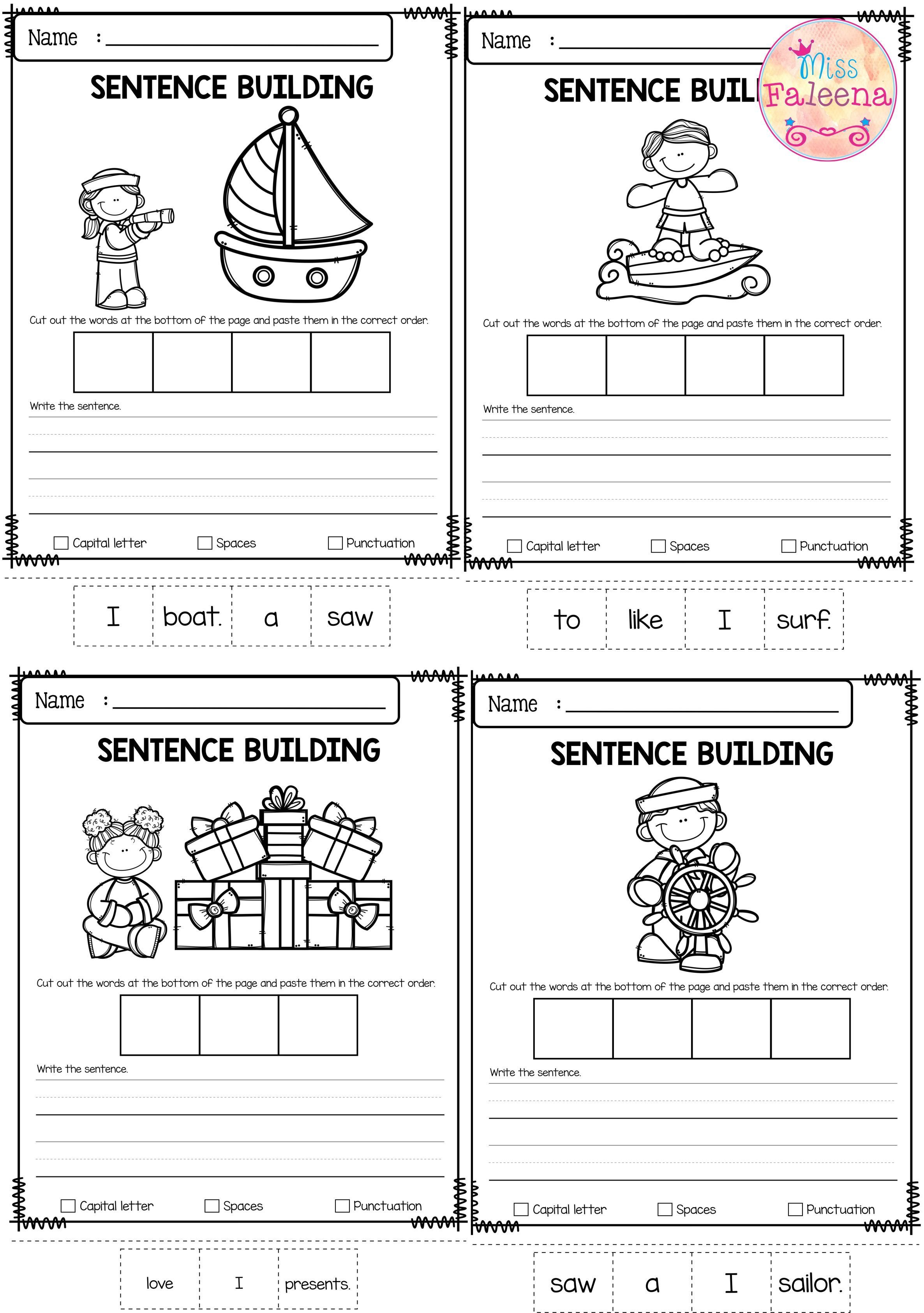 June Sentence Building Has 30 Pages Of Sentence Building