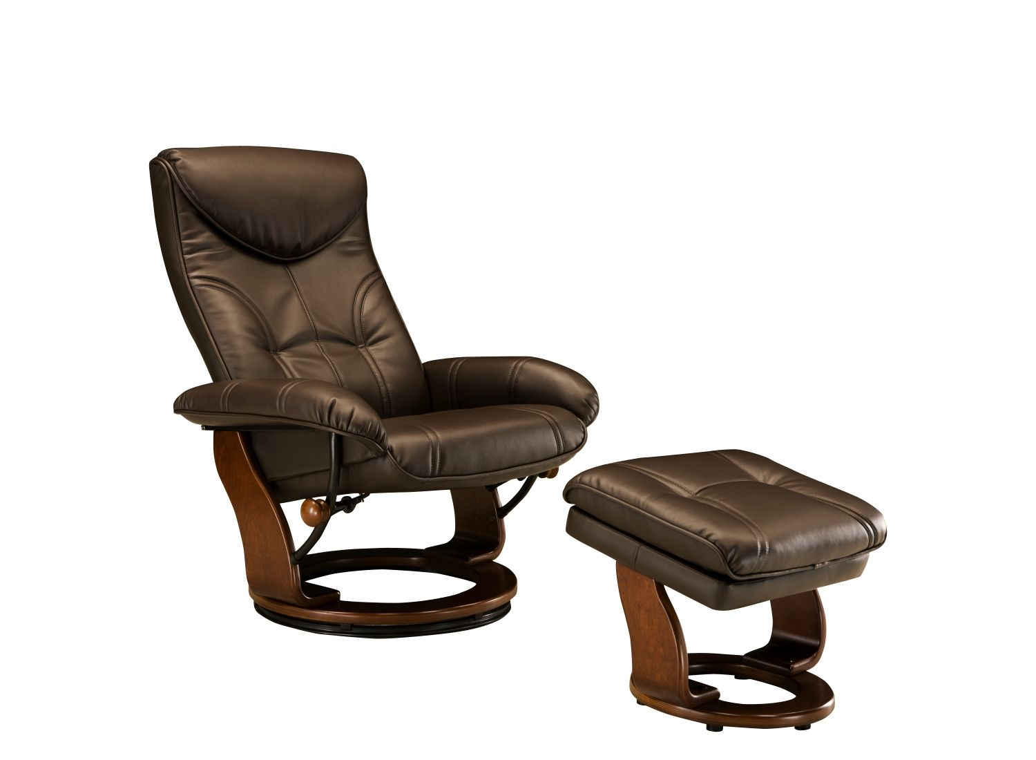 This Clinton leather reclining chair and storage ottoman will add a little comfort and luxury to your living room.