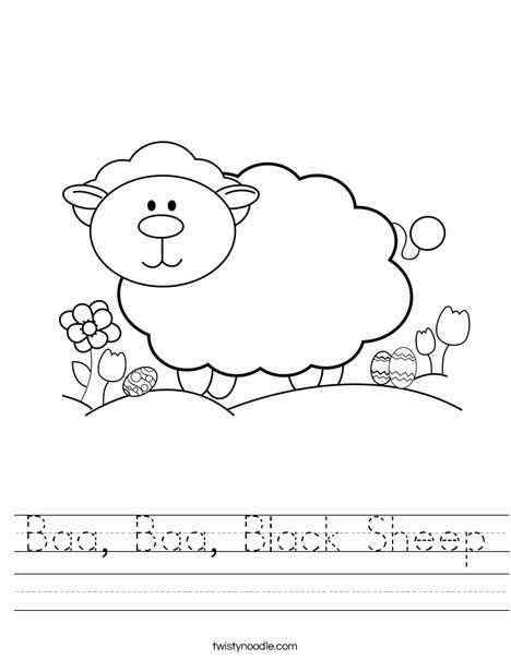 Baa Baa Black Sheep Worksheet Twisty Noodle Bible School Crafts
