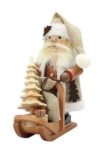 Smoker Santa Claus with Sleigh - 28,0 cm / 11 inch  plus shipping