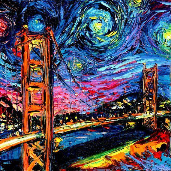 van Gogh Never Saw Golden Gate Bridge, Starry Night stretched canvas print by Aja, Choose size landm